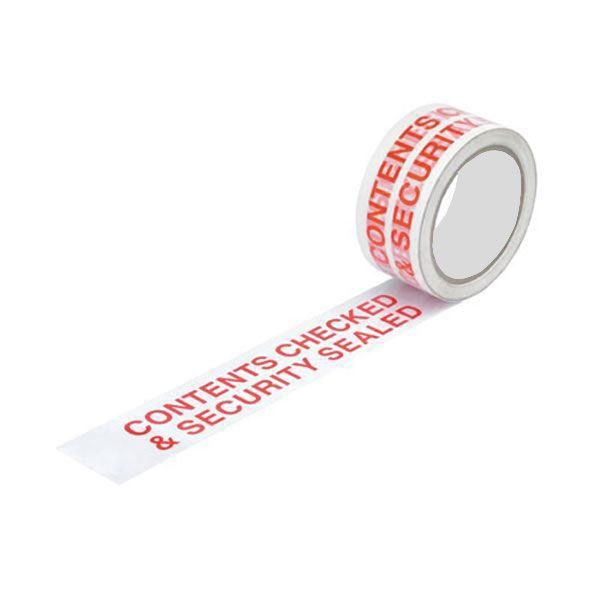 'Contents Checked & Security Sealed' tape
