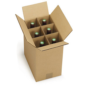 Bottles of wine being transported in box with Universal Cardboard Dividers